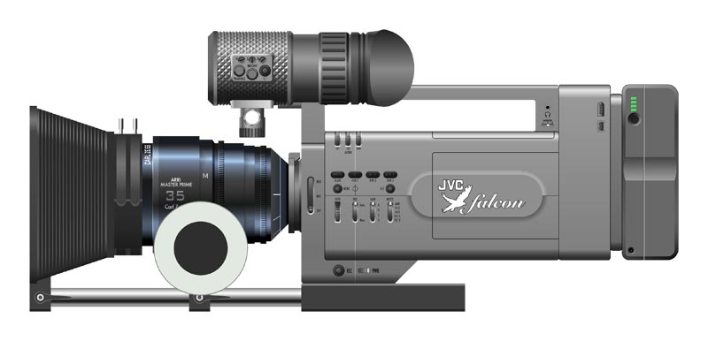 Camera designed by Alexei Berteig for JVC, pictured with lens